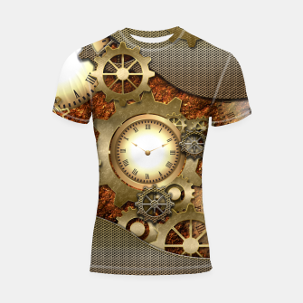 Thumbnail image of Steampunk with clocks and gears, golden design Shortsleeve Rashguard, Live Heroes