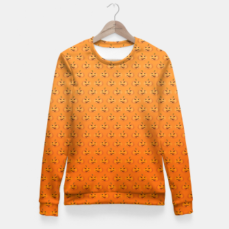 Miniatur Halloween Pumpkin Pattern Fitted Waist Sweater, Live Heroes