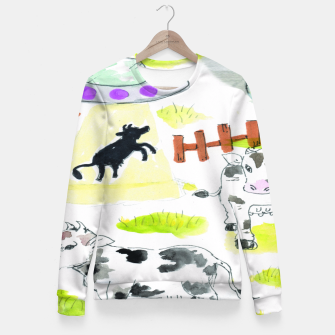 Thumbnail image of aliens and cows Fitted Waist Sweater, Live Heroes