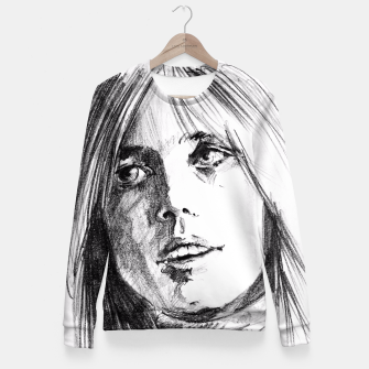Thumbnail image of Tom Petty memory bw yulia a korneva Fitted Waist Sweater, Live Heroes