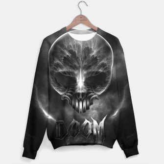 Thumbnail image of I Am Doom Fractal Skull Shadow Clouds Sweater, Live Heroes