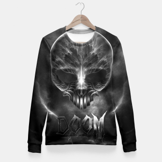 Thumbnail image of I Am Doom Fractal Skull Shadow Clouds Fitted Waist Sweater, Live Heroes