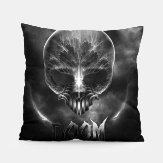 Thumbnail image of I Am Doom Fractal Skull Shadow Clouds Pillow, Live Heroes