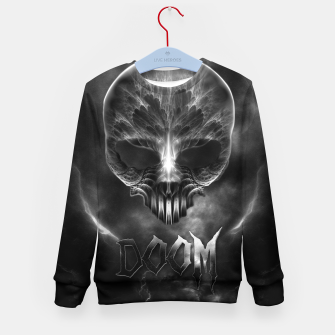 Thumbnail image of I Am Doom Fractal Skull Shadow Clouds Kid's Sweater, Live Heroes