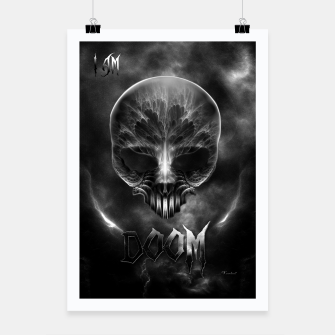 Thumbnail image of I Am Doom Fractal Skull Shadow Clouds Poster, Live Heroes