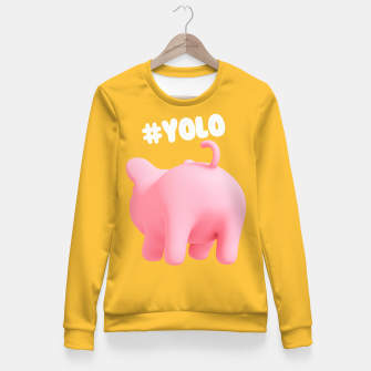 Thumbnail image of Rosa the pig #Yolo yellow Fitted Waist Sweater, Live Heroes