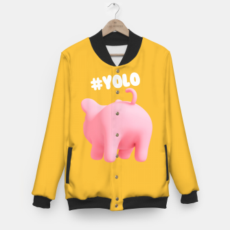 Thumbnail image of Rosa the pig #Yolo yellow Baseball Jacket, Live Heroes