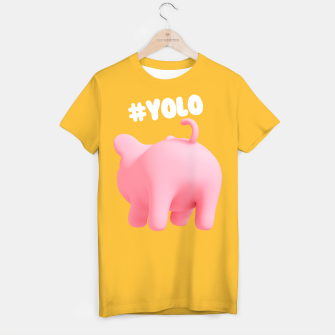 Thumbnail image of Rosa the pig #Yolo yellow T-shirt, Live Heroes
