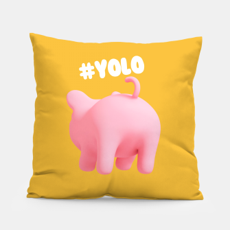Thumbnail image of Rosa the pig #Yolo yellow Pillow, Live Heroes