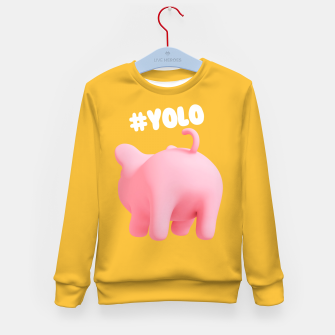 Thumbnail image of Rosa the pig #Yolo yellow Kid's Sweater, Live Heroes