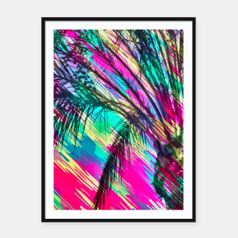 Imagen en miniatura de palm tree with colorful abstract background in pink green yellow blue Framed poster, Live Heroes