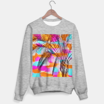 palm tree with colorful painting abstract background in pink orange blue Sweater regular thumbnail image
