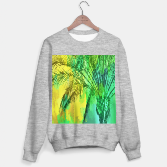 palm tree with green and yellow painting texture abstract background Sweater regular thumbnail image