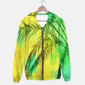 palm tree with green and yellow painting texture abstract background Hoodie thumbnail image
