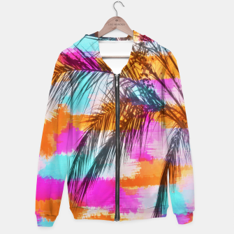 palm tree with colorful painting abstract background in pink orange blue Hoodie thumbnail image