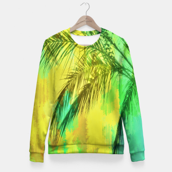 palm tree with green and yellow painting texture abstract background Fitted Waist Sweater thumbnail image