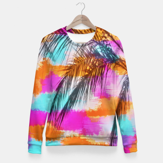 palm tree with colorful painting abstract background in pink orange blue Fitted Waist Sweater thumbnail image