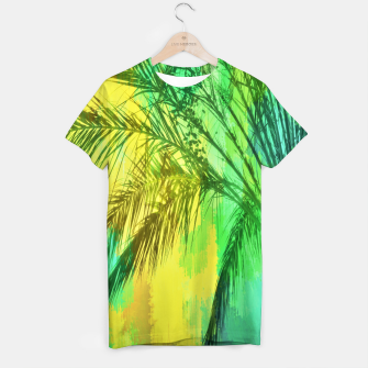palm tree with green and yellow painting texture abstract background T-shirt thumbnail image