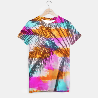 palm tree with colorful painting abstract background in pink orange blue T-shirt thumbnail image