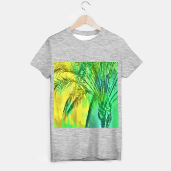 palm tree with green and yellow painting texture abstract background T-shirt regular thumbnail image