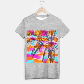palm tree with colorful painting abstract background in pink orange blue T-shirt regular thumbnail image