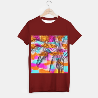 Thumbnail image of palm tree with colorful painting abstract background in pink orange blue T-shirt regular, Live Heroes