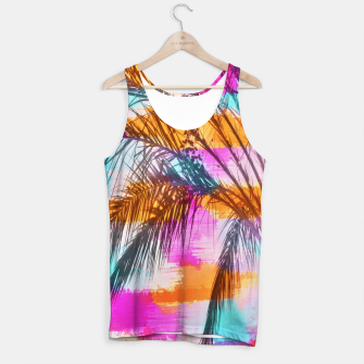 palm tree with colorful painting abstract background in pink orange blue Tank Top thumbnail image