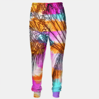 palm tree with colorful painting abstract background in pink orange blue Sweatpants thumbnail image