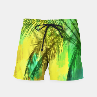 Thumbnail image of palm tree with green and yellow painting texture abstract background Swim Shorts, Live Heroes