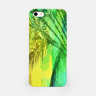 Thumbnail image of palm tree with green and yellow painting texture abstract background iPhone Case, Live Heroes
