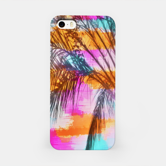 palm tree with colorful painting abstract background in pink orange blue iPhone Case thumbnail image