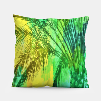 Thumbnail image of palm tree with green and yellow painting texture abstract background Pillow, Live Heroes
