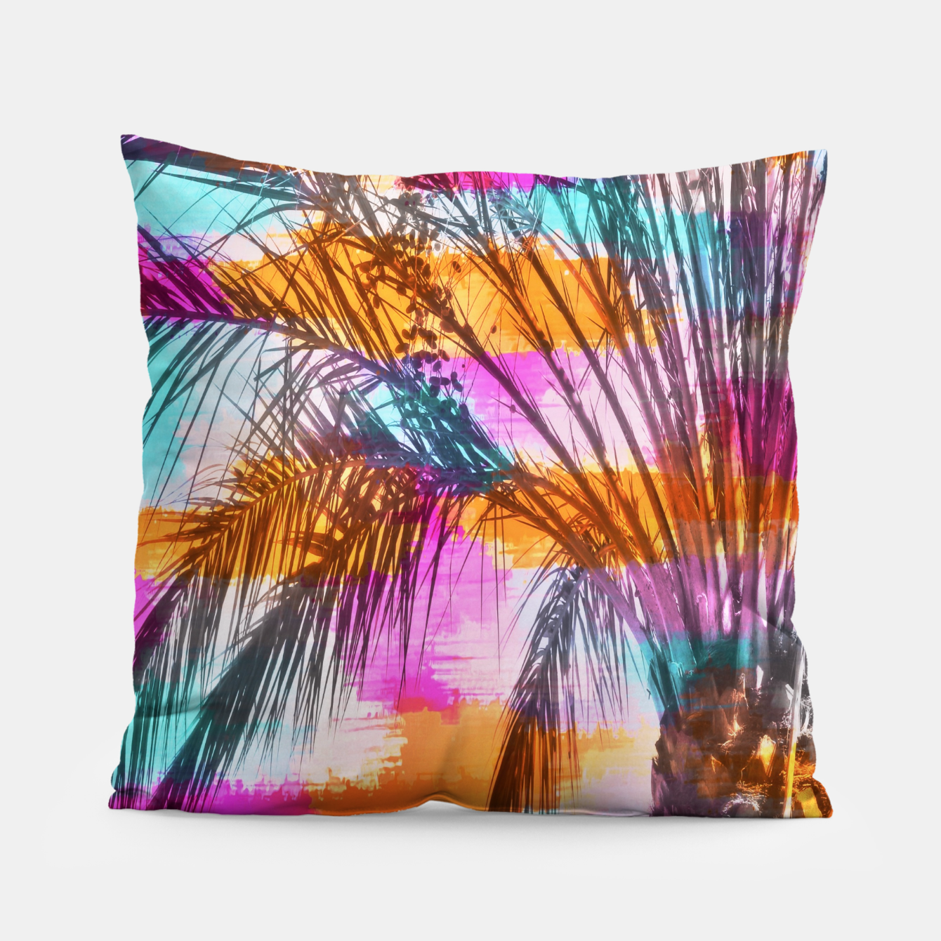 Image of palm tree with colorful painting abstract background in pink orange blue Pillow - Live Heroes