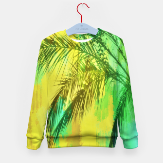 Thumbnail image of palm tree with green and yellow painting texture abstract background Kid's Sweater, Live Heroes