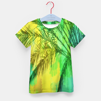 Thumbnail image of palm tree with green and yellow painting texture abstract background Kid's T-shirt, Live Heroes