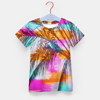palm tree with colorful painting abstract background in pink orange blue Kid's T-shirt thumbnail image