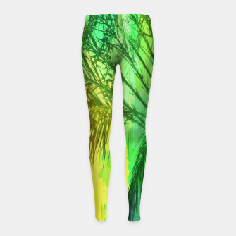 Thumbnail image of palm tree with green and yellow painting texture abstract background Girl's Leggings, Live Heroes