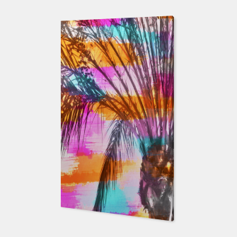 palm tree with colorful painting abstract background in pink orange blue Canvas thumbnail image