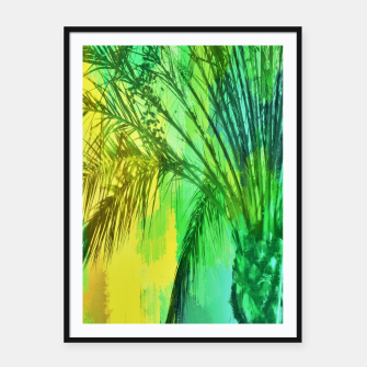 Thumbnail image of palm tree with green and yellow painting texture abstract background Framed poster, Live Heroes