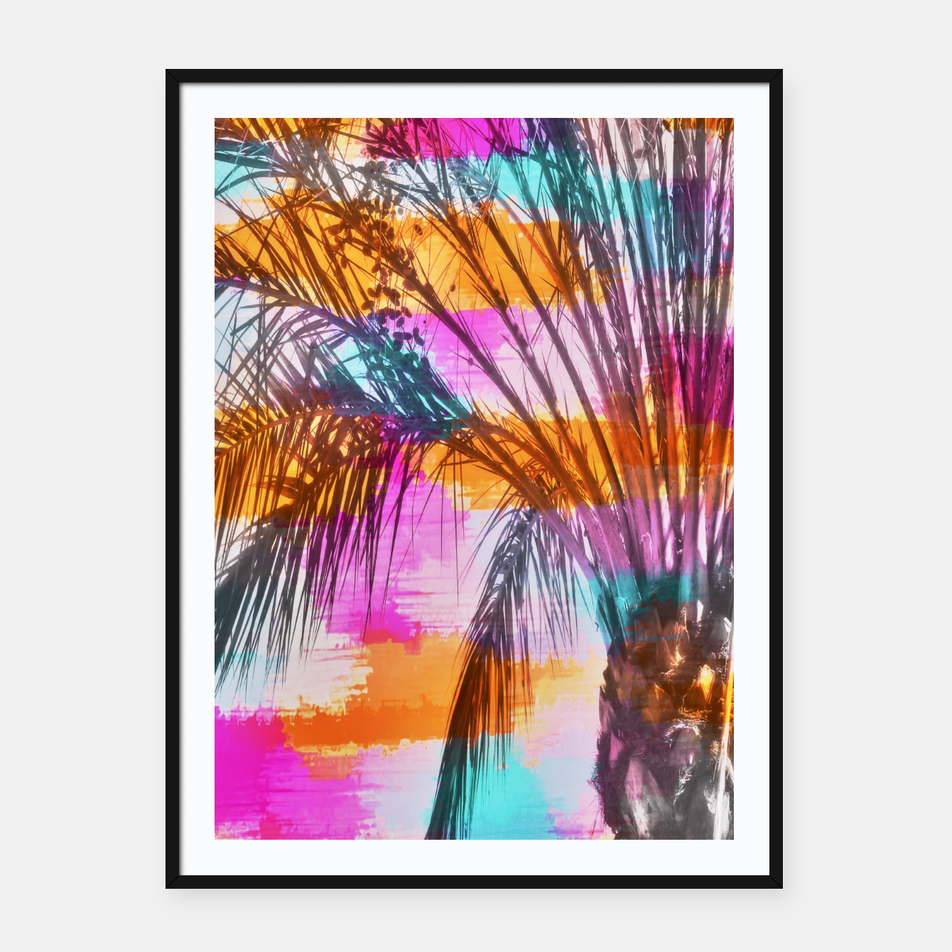 Image of palm tree with colorful painting abstract background in pink orange blue Framed poster - Live Heroes
