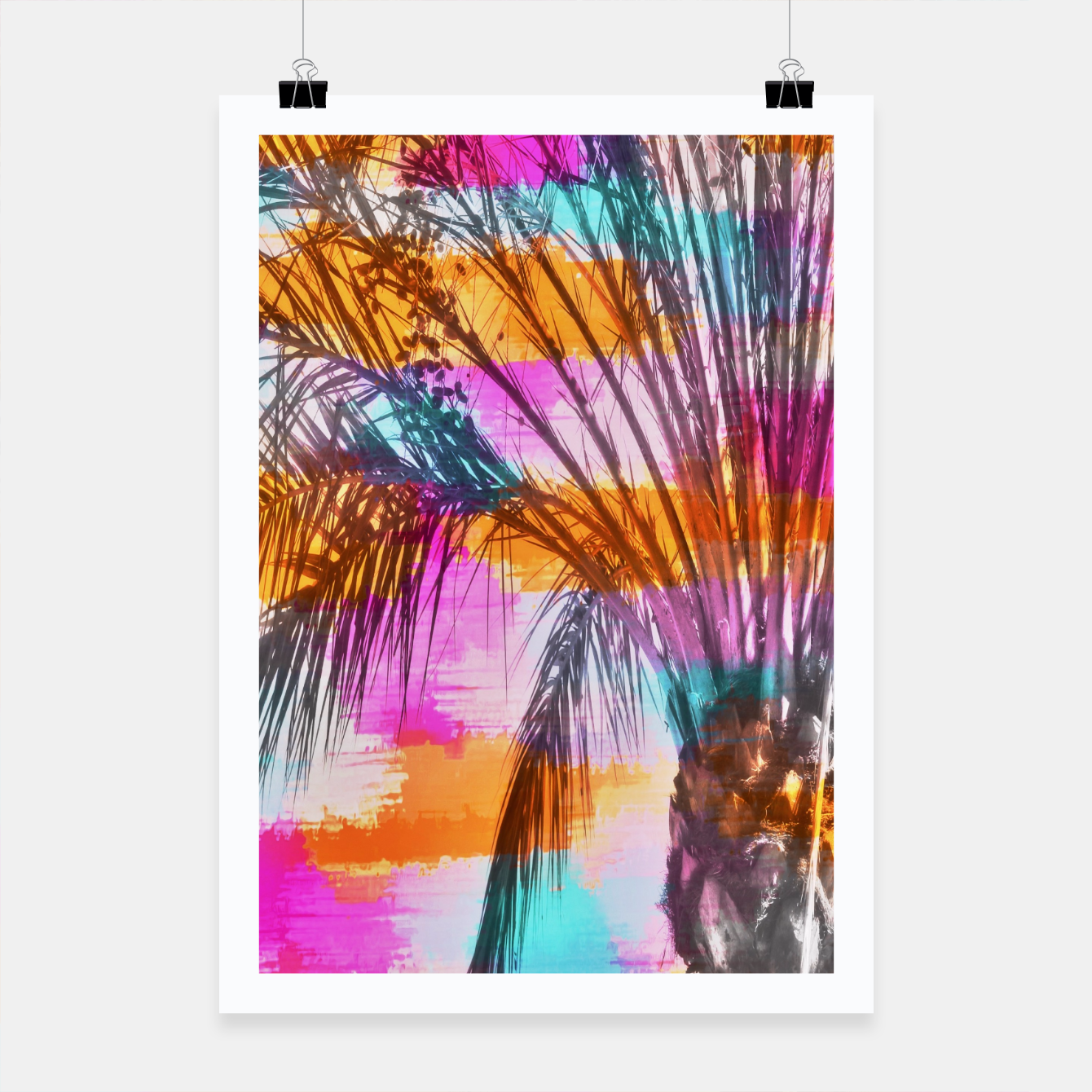 Image of palm tree with colorful painting abstract background in pink orange blue Poster - Live Heroes