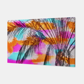 Thumbnail image of palm tree with colorful painting abstract background in pink orange blue Canvas, Live Heroes