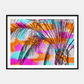 palm tree with colorful painting abstract background in pink orange blue Framed poster thumbnail image