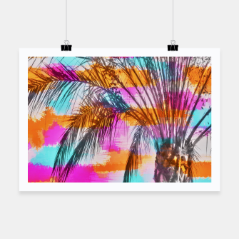 Thumbnail image of palm tree with colorful painting abstract background in pink orange blue Poster, Live Heroes