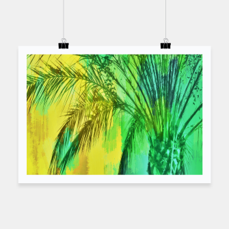Thumbnail image of palm tree with green and yellow painting texture abstract background Poster, Live Heroes