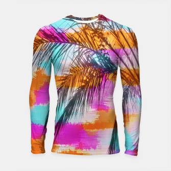 palm tree with colorful painting abstract background in pink orange blue Longsleeve Rashguard  thumbnail image