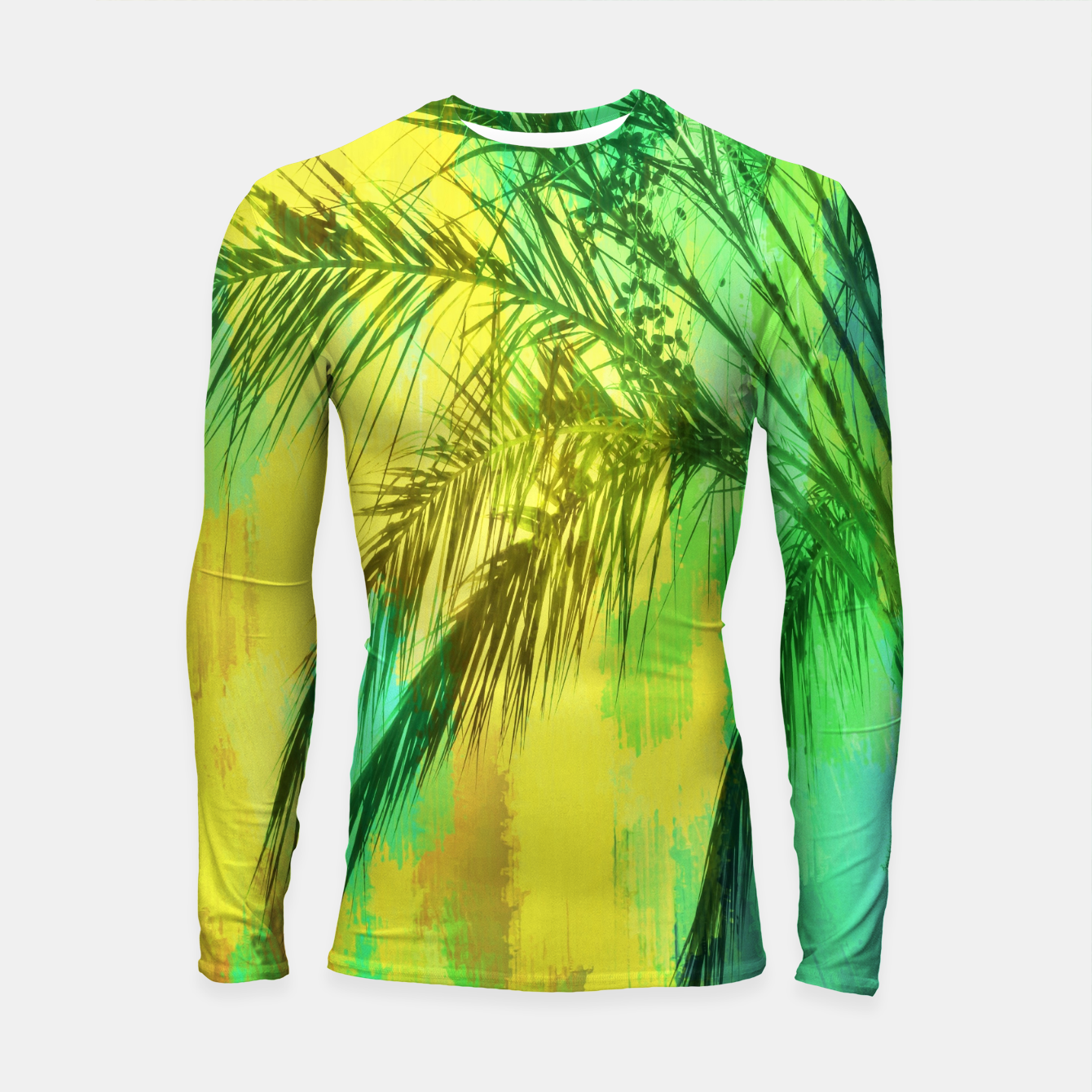 Image of palm tree with green and yellow painting texture abstract background Longsleeve Rashguard  - Live Heroes