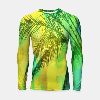 Thumbnail image of palm tree with green and yellow painting texture abstract background Longsleeve Rashguard , Live Heroes