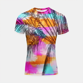 palm tree with colorful painting abstract background in pink orange blue Shortsleeve Rashguard thumbnail image