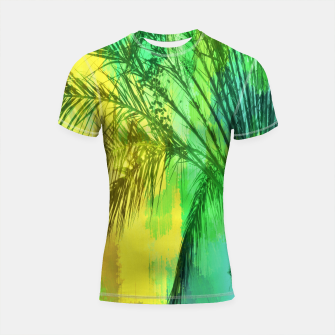 Thumbnail image of palm tree with green and yellow painting texture abstract background Shortsleeve Rashguard, Live Heroes